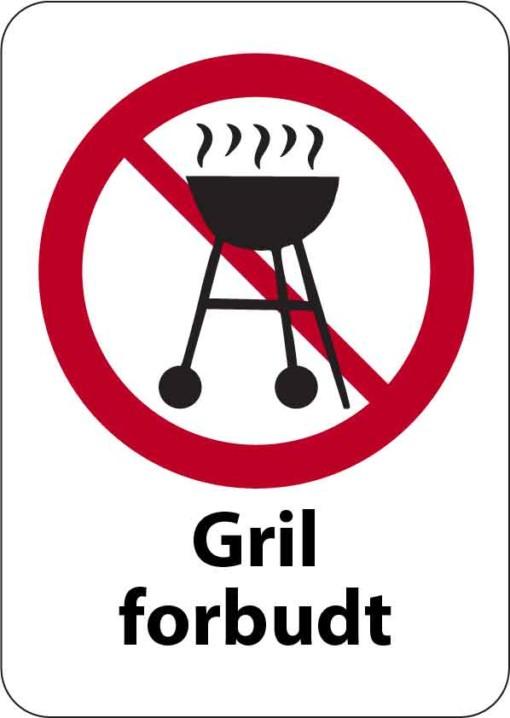 Grill forbudt skilt