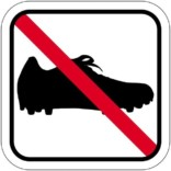 Fodboldstøvle forbud piktogram skilt