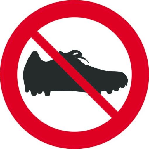 Fodboldstøvle forbudt. Forbudsskilt