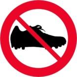 Fodboldstøvle forbudskilt
