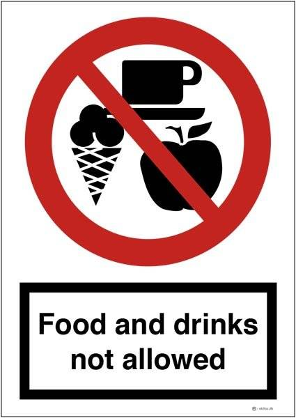 Food and drinks not allowed. Forbudsskilt