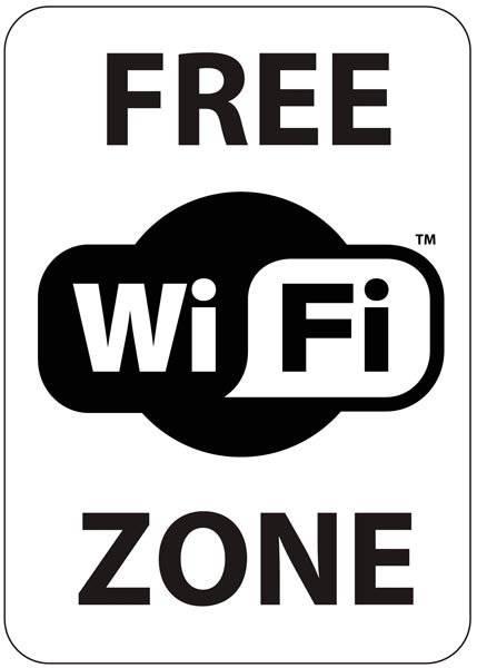 Free WI FI zone skilt