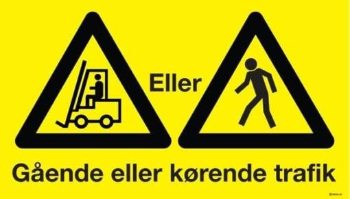 Gående eller kørende Truck trafik. Advarselsskilt