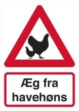 Æg fra havehøns. Bygningsskilt