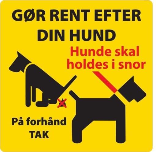 Gør rent efter din hund Gult. Hundeskilt