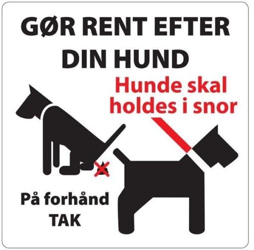 Gør rent efter din hund Hvidt. Hundeskilt
