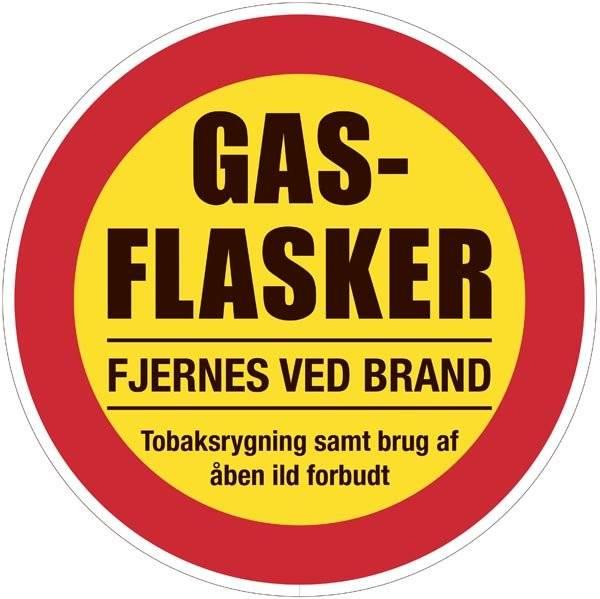 Gasflasker fjernes ved brand. Forbudsskilt
