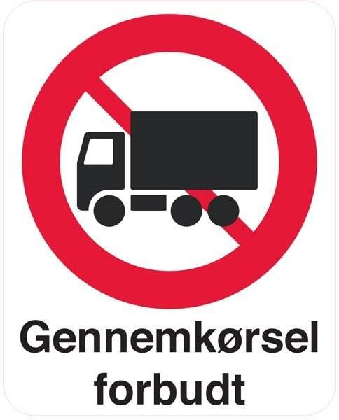 Lastbiler forbudt skilte