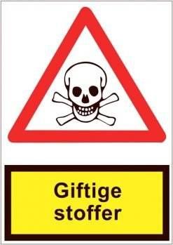 Advarselsskilt med underskilt - Giftstoffer
