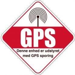 Tyverisikringsskilt - Denne enhed er udstyret med GPS sporing