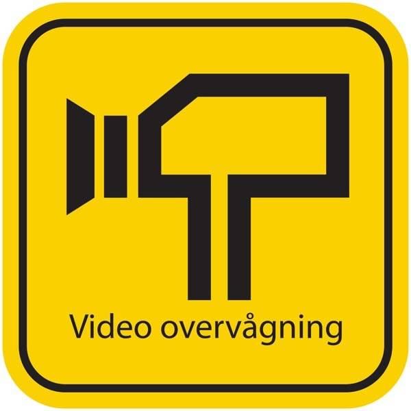 GUL Video overvågning. Piktogram skilt