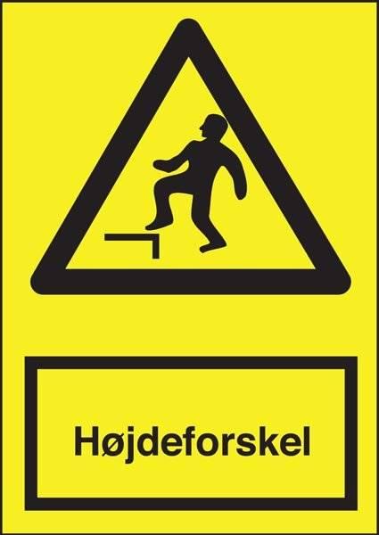 Advarselsskilt - Højdeforskel