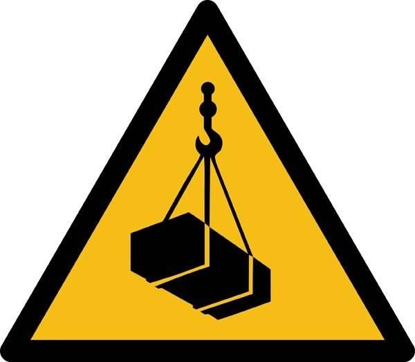 Hængende last ISO_7010_W015. Advarselsskilt