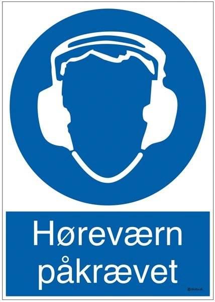 Påbudsskilt - Høreværn påkrævet