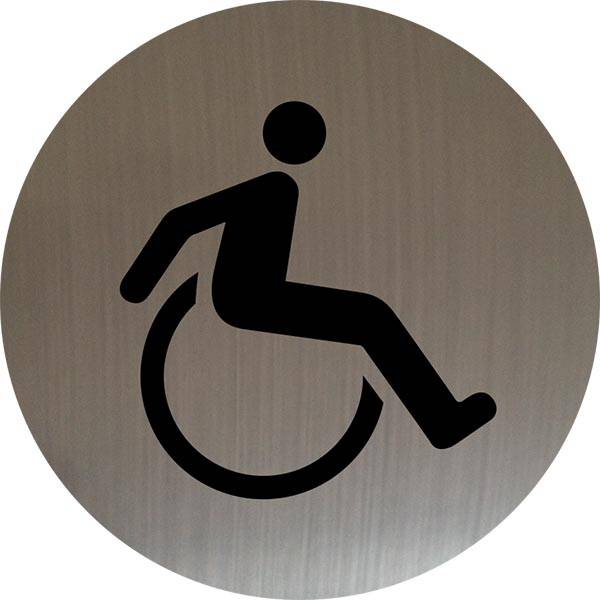 Handicap toiletskilt rundt skilt på børstet alu.