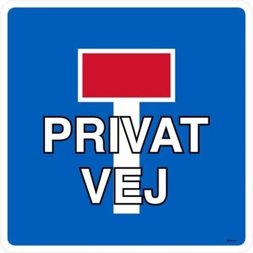 E18 privat vej. Trafikskilt
