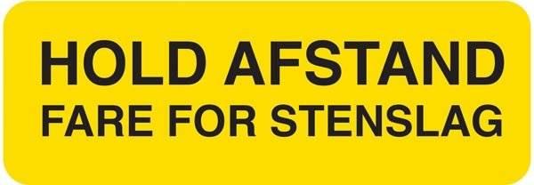 Hold afstand Fare for stenslag. Advarselsskilt