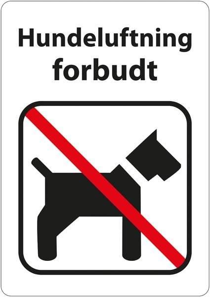 Hundeskilt - Hundeluftning forbudt