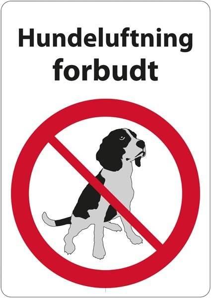Hundeluftning forbudt. Hundeskilt