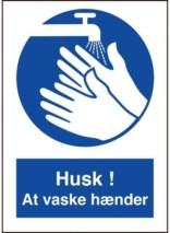 Husk at vaske hænder påbudt skilt