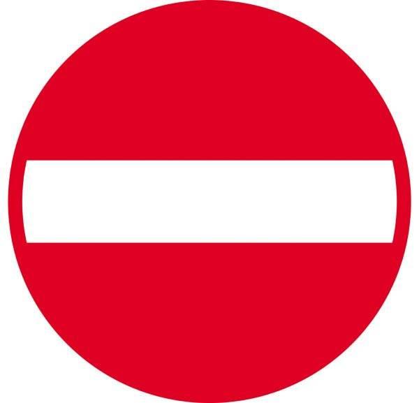 Indkørsel forbudt. Skilt