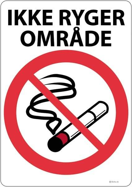 Ikke ryger område skilt