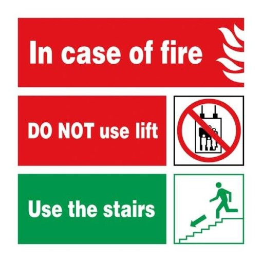 In Case Of Fire Use Stairs. Brandskilt