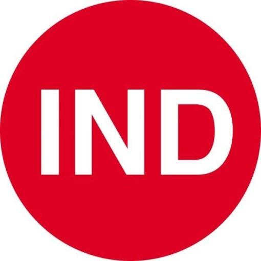 IND rød skilt