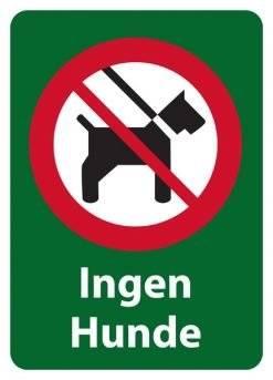 Ingen hunde. Forbudsskilt
