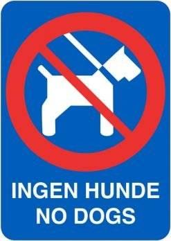 Ingen Hunde No Dogs Blå. Hunde skilt
