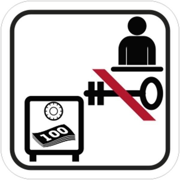 Ingen nøgle til pengeskab - Piktogram skilt
