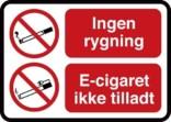 Ingen Rygning El cigaret ikke tilladt. Rygeforbudsskilt