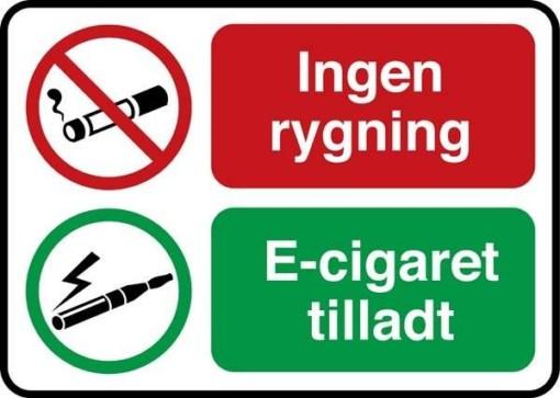 Ingen Rygning El cigaret tilladt. Rygeforbudsskilt