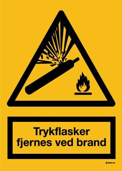 Trykflasker fjernes ved brand skilt