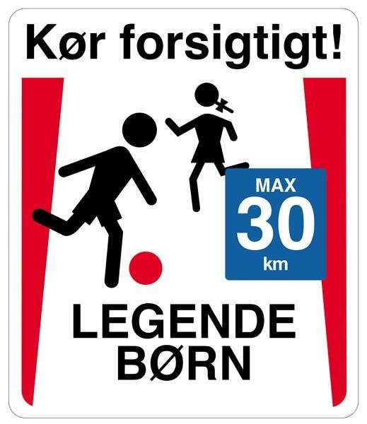 Legende børn skilt: kør forsigtigt legende børn max 30 km. Skilt