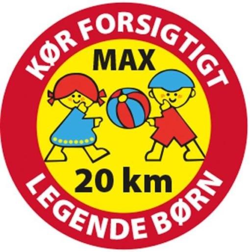 Kør forsigtigt max 20 km legende børn Skilt