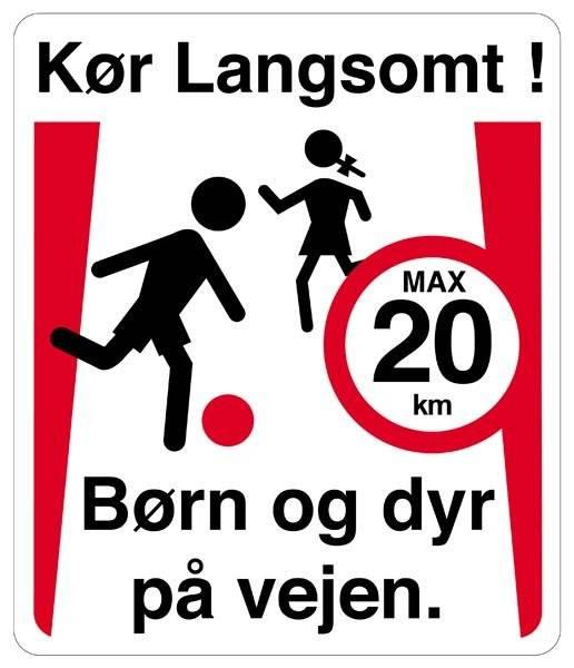 Kør langsomt! børn og dyr på vejen Skilt