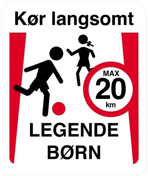Kør langsomt legende børn max 20 km. skilt