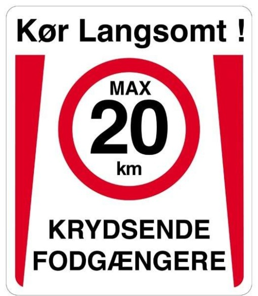 Kør langsomt max 20 km Krydsende fodgængere Skilt