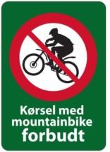 Kørsel med mountainbike forbudt forbudsskilt