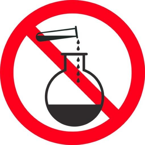 Kemikalier forbudt. Forbudsskilt