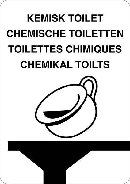 Kemisk toilet. Bygningsskilt