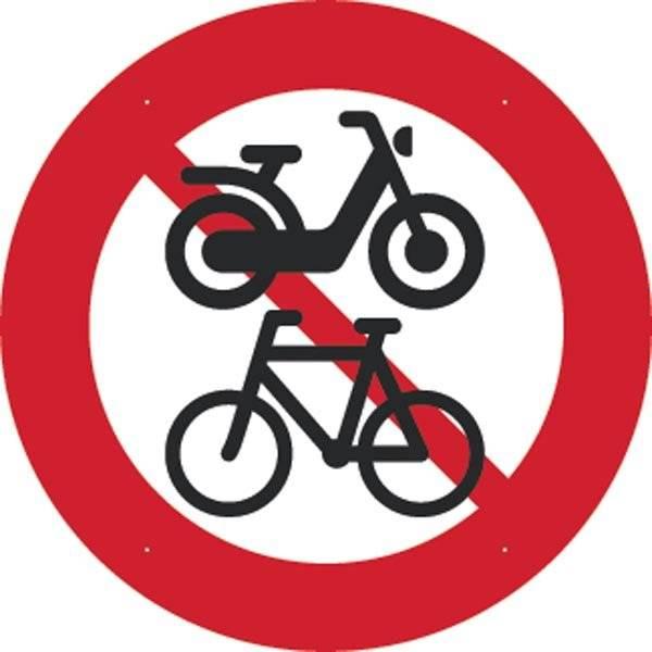 Knallert og Cykel forbudt. Forbudt skilt