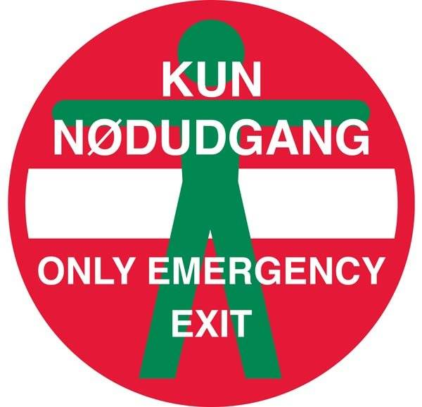 Kun Nødudgang Only Emergency exit skilt