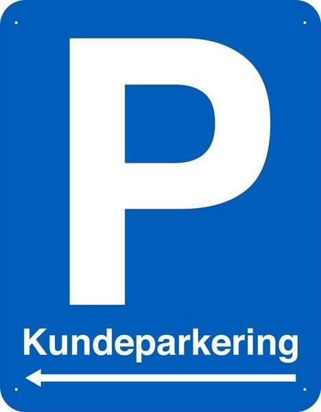 Kundeparkering med pil. Parkeringsskilt
