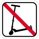 Løbehjul forbuds piktogram. skilt