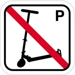 Løbehjul P forbuds piktogram. skilt