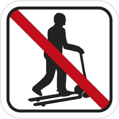 Løbehjuls kørsel forbudt piktogram. skilt