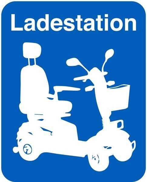 Ladestation scooter skilt