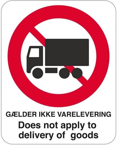 Lastbil forbudt Gælder ikke varelevering Skilt